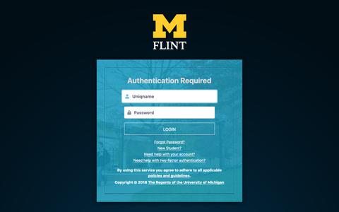 Screenshot of Login Page umflint.edu - Weblogin   University of Michigan-Flint - captured Nov. 28, 2018