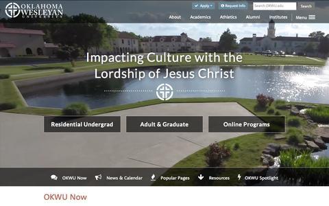 Screenshot of Home Page okwu.edu - Oklahoma Wesleyan University - Top Christian College - captured Aug. 12, 2015