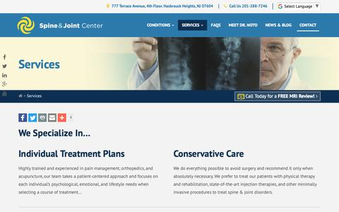 Screenshot of Services Page spineandjointcenter.com - Back & Joint Pain Treatments and Services | Spine & Joint Center NY NJ - captured Oct. 18, 2018