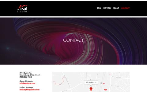 Screenshot of Contact Page agiphotostudios.com - agistudios | CONTACT - captured Oct. 2, 2018