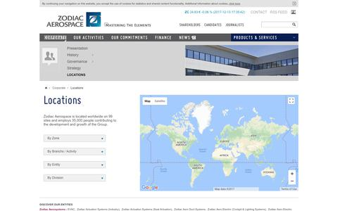 Screenshot of Locations Page zodiacaerospace.com - Locations | ZODIAC AEROSPACE - captured Dec. 13, 2017