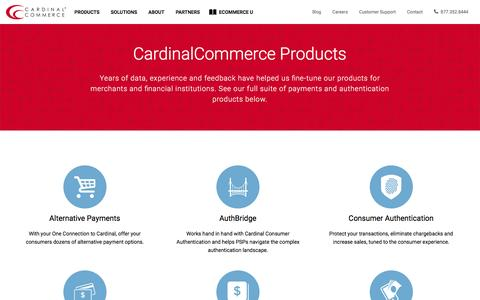 Screenshot of Products Page cardinalcommerce.com - Remote Payment & Authentication Products for Merchants & Banks - CardinalCommerce - captured May 9, 2017