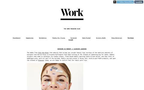 Screenshot of Blog theworkmag.com - The Work Magazine Blog - captured Oct. 7, 2014