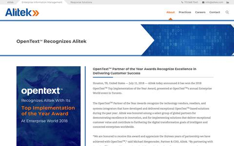 Screenshot of Press Page alitek.com - OpenText Recognizes Alitek At Enterprise World 2018 - Alitek - captured July 29, 2018