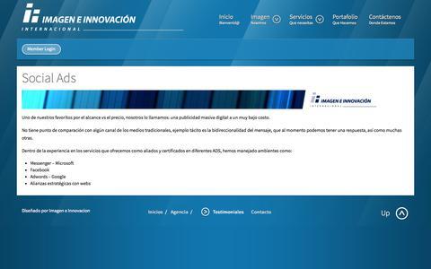 Screenshot of Menu Page imageneinnovacion.com - Testimoniales - Imagen e Innovación Internacional - captured Oct. 6, 2014