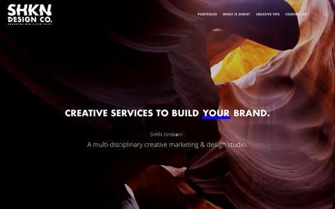 Screenshot of Home Page shkn.co - SHKN Design Co. /sHākən/ | Web. Print Media. Graphics Design. - Tulsa, OK - captured Oct. 21, 2018