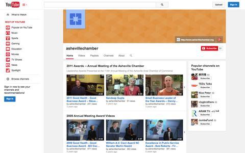 Screenshot of YouTube Page youtube.com - ashevillechamber  - YouTube - captured Oct. 23, 2014