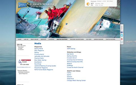 Screenshot of Press Page larsenmarine.com - Larsen Marine | Yacht Sales, Service, & Storage | Waukegan, IL - Media - captured Oct. 1, 2014