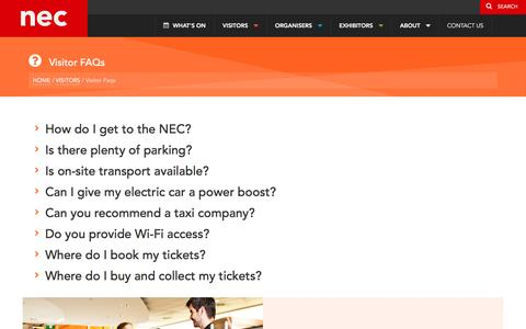 Screenshot of FAQ Page thenec.co.uk - FAQs for visitors to the NEC | The NEC Birmingham - captured Dec. 4, 2016