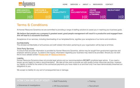 Screenshot of Terms Page hrdynamics.com.au - Human Resource Dynamics - Effective Employee Management - Terms - captured Sept. 30, 2018