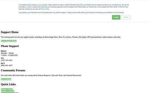 Screenshot of Support Page skuvault.com - Customer Support | SkuVault Warehouse Management System - captured March 1, 2019