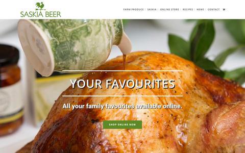 Screenshot of Home Page saskiabeer.com - Saskia Beer's Farm Produce - captured Feb. 4, 2016