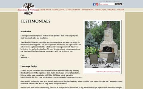 Screenshot of Testimonials Page hinsdalenurseries.com - Testimonials - Hinsdale Nurseries - Landscaping Services, Retail & Wholesale Plant Sales in Chicago's Western Suburbs - Testimonials - captured Sept. 28, 2018