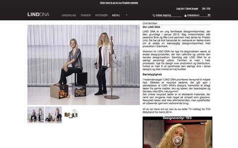 Screenshot of Menu Page linddna.com - Bolig design – Livsstilsprodukter i recycled læder – om LIND DNA - captured Sept. 26, 2014