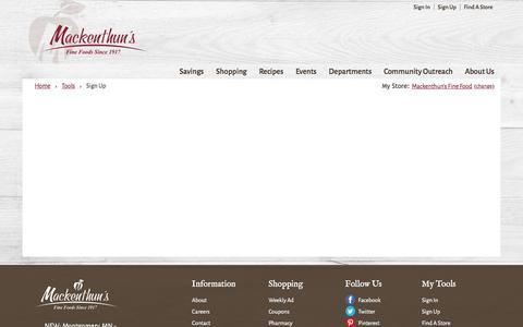 Screenshot of Signup Page mackenthuns.com - Sign Up | Mackenthun's - captured Nov. 18, 2016