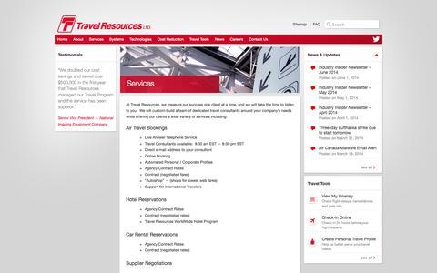 Screenshot of Services Page travelresources.net - Services | Travel Resources Ltd. - captured Oct. 7, 2014