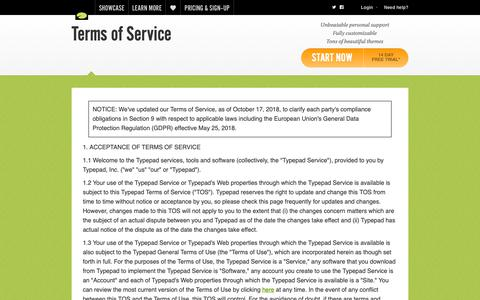 Screenshot of Terms Page typepad.com - Terms of Service   Typepad - captured Oct. 27, 2018