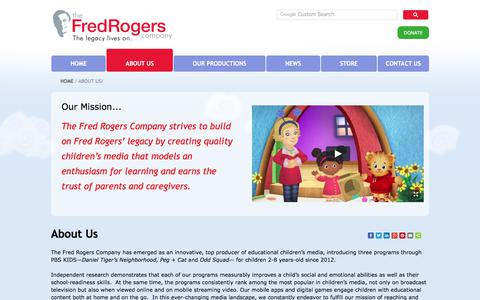 Screenshot of About Page fredrogers.org - About The Fred Rogers Company - captured Nov. 1, 2017