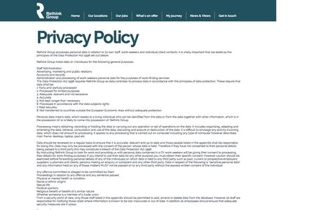 Screenshot of Privacy Page working-for-rethink.com - Working for Rethink Group | Privacy Policy - captured Jan. 24, 2017