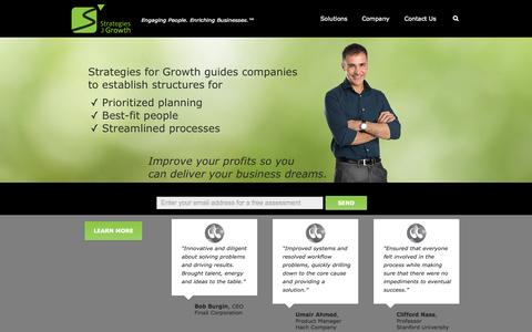 Screenshot of Home Page sfgrowth.com - Strategies for Growth Consulting Group - captured Oct. 7, 2014