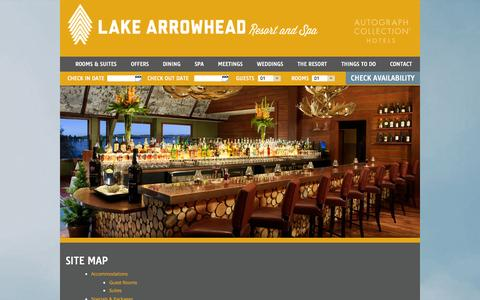 Screenshot of Site Map Page lakearrowheadresort.com - Sitemap | Lake Arrowhead Resort - captured Oct. 1, 2014