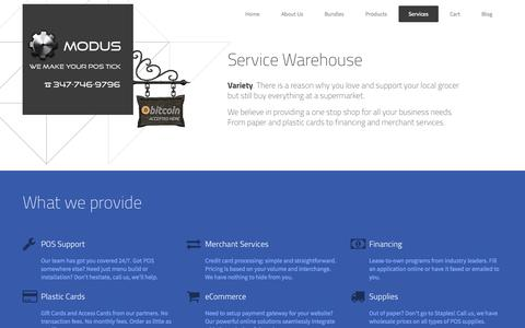 Screenshot of Services Page moduspos.com - POS Services | Support for point of sale,merchant services, financing | Modus POS - captured Sept. 30, 2014