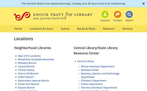 Screenshot of Locations Page prattlibrary.org - Pratt Library Locations - Enoch Pratt Free Library - captured June 29, 2016