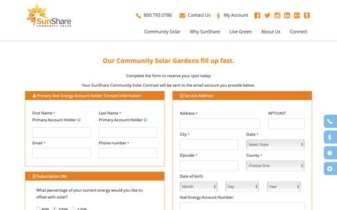 Screenshot of Signup Page mysunshare.com - Signup - SunShare Community Solar Gardens | Community Solar Projects | Renewable Energy Solar Farms - captured Oct. 19, 2018