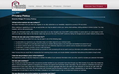 Screenshot of Privacy Page scenicridge.com - Scenic Ridge Company - Privacy Policy - captured Nov. 2, 2014