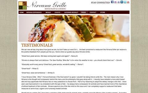 Screenshot of Testimonials Page nirvanagrille.com - Nirvana Grille Restaurant  |  Testimonials - captured Oct. 26, 2014