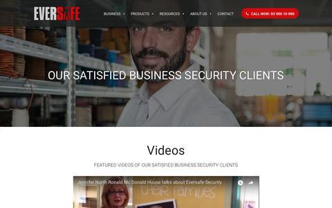 Screenshot of Testimonials Page eversafe.com.au - Testimonials - Eversafe: Business Security Alarm Systems Melbourne | CCTV Camera Systems - captured Sept. 29, 2018