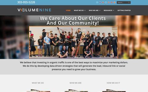 Screenshot of Home Page v9seo.com - Denver SEO Company - Search Engine Optimization Experts | Volume Nine SEO - captured Dec. 18, 2015