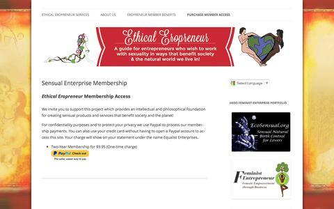 Screenshot of Signup Page ethicaleropreneur.com - Ethical Erotic Entrepreneur - captured April 25, 2016