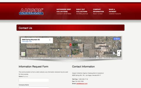 Screenshot of Contact Page aargon.com - Contact Us    Aargon Collection Agency - captured Feb. 5, 2016