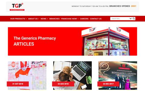 Screenshot of Press Page tgp.com.ph - Press | Drugstore Philippines - The Generics Pharmacy - captured Nov. 19, 2018