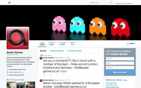 Screenshot of Twitter Page twitter.com - Avatar Games  (@Avatar_Games) | Twitter - captured Oct. 23, 2014