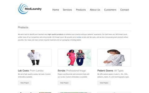 Screenshot of Products Page medlaundry.com - Scrubs, Labcoats, Gowns, Sheets | Products | - captured Oct. 27, 2014