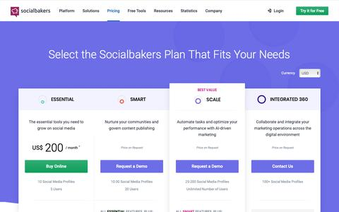 Screenshot of Pricing Page socialbakers.com - Select Your Socialbakers Suite Plan | Socialbakers - captured Feb. 14, 2019