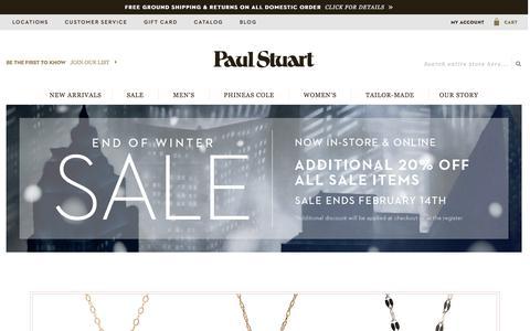 Screenshot of Home Page paulstuart.com - Paul Stuart - Fine Men's & Women's clothing - captured Feb. 13, 2016