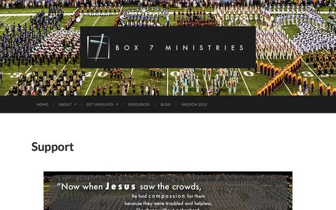 Screenshot of Support Page box7dci.org - Support | Box 7 Ministries for Drum Corps - captured Oct. 5, 2014