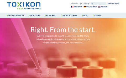 Screenshot of Home Page toxikon.com - Toxikon – Preclinical Safety and Efficacy Testing for Life Science Products - captured Nov. 18, 2018