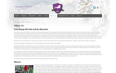 Screenshot of About Page frontrangeskiclub.com - About Us | Front Range Ski Club - captured Sept. 30, 2014