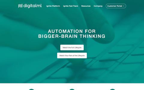 Screenshot of Developers Page digitalml.com - Automation for Bigger-Brain Thinking and Innovation | digitalML - captured Feb. 22, 2018