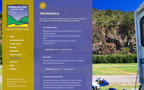 Screenshot of Testimonials Page cumberlandriver.com.au - TESTIMONIALS - Cumberland River - captured March 18, 2016
