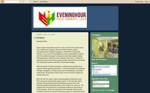 Screenshot of Blog eveninghour.com - The World of Books, Reviews, and Edutainment : EveningHour - captured Sept. 30, 2014