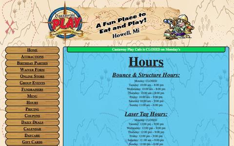 Screenshot of Hours Page castawayplay.com - Hours Of Operation & Laser Tag Hours Of Operation - captured Jan. 26, 2016