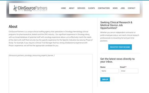 Screenshot of About Page clinsourcepartners.com - About | ClinSource Partners - captured Sept. 30, 2014