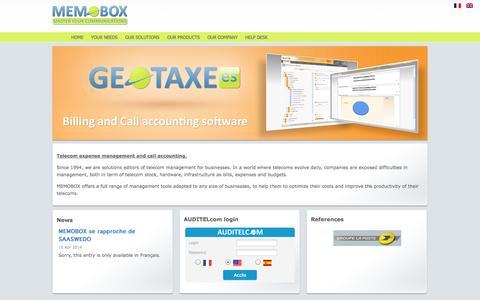 Screenshot of memobox.fr - Memobox AUDITELcom TEM Telecom Expense Management - captured Oct. 11, 2014