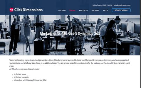 Screenshot of Pricing Page clickdimensions.com - Marketing Automation - Pricing | ClickDimensions - captured July 11, 2018