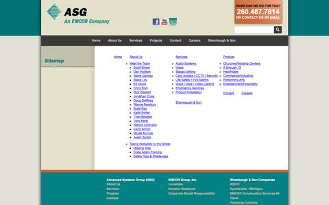Screenshot of Site Map Page advsysgrp.com - Advanced Systems Group (ASG) :: Sitemap - captured Nov. 19, 2016